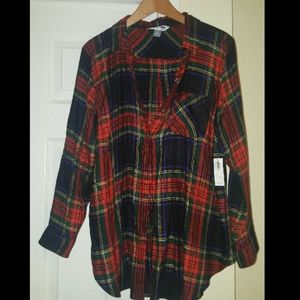 Red Flannel Plaid Shirt for Women